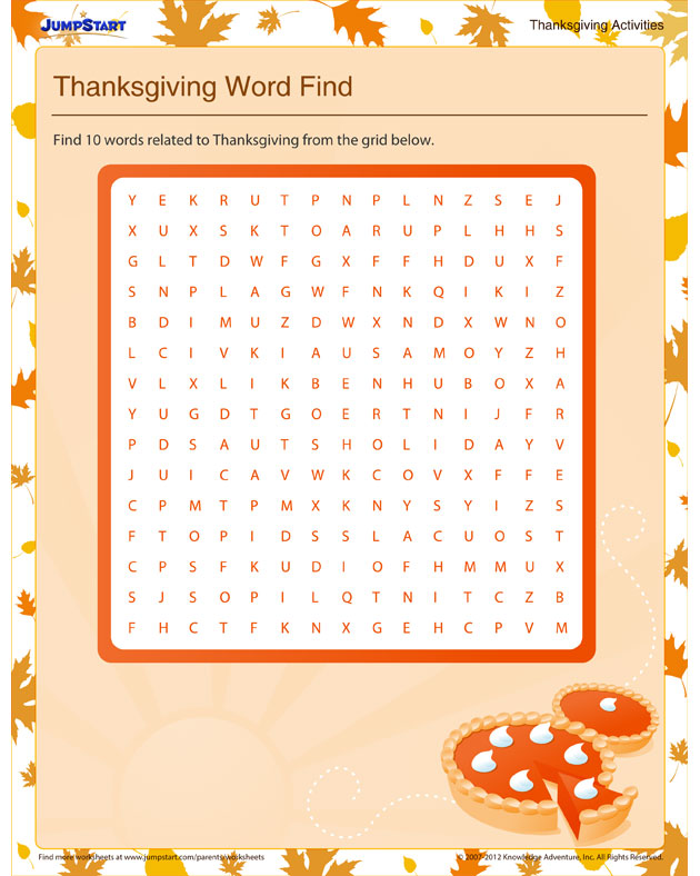 Thanksgiving Word Find - Free Thanksgiving Activity for Kindergarteners