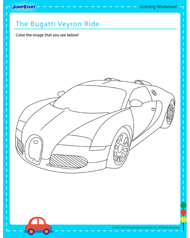 The Bugatti Veyron Ride - Free coloring page for kids on vehicles