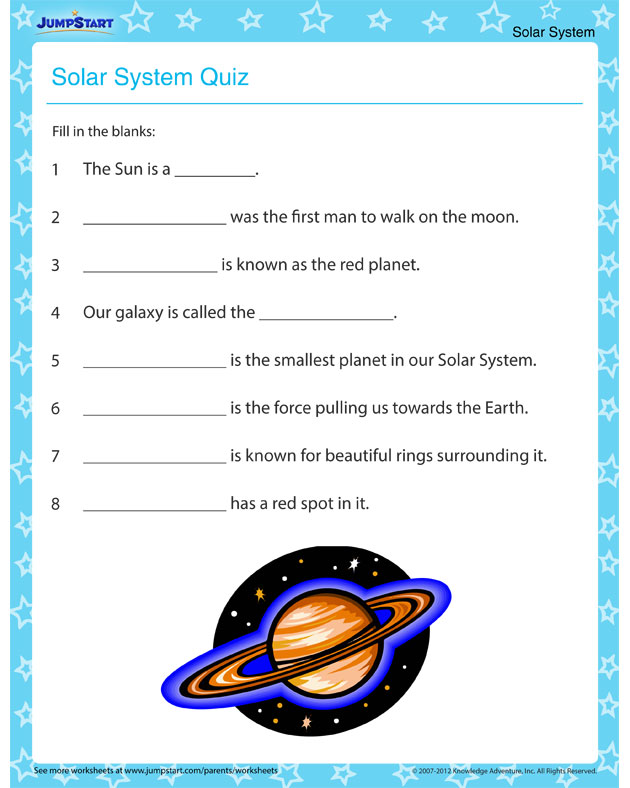 The Solar System Quiz – Solar system worksheets for kids