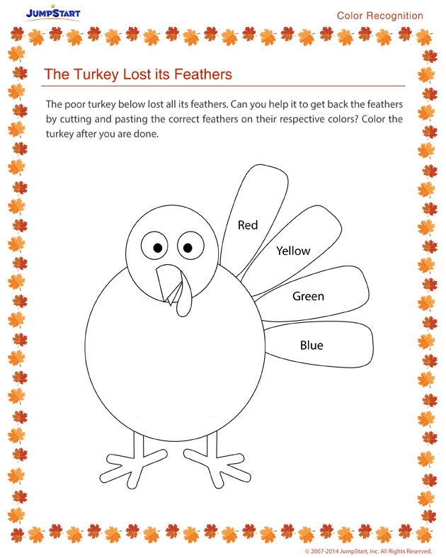 The Turkey Lost its Feathers - Free holiday worksheets for kids