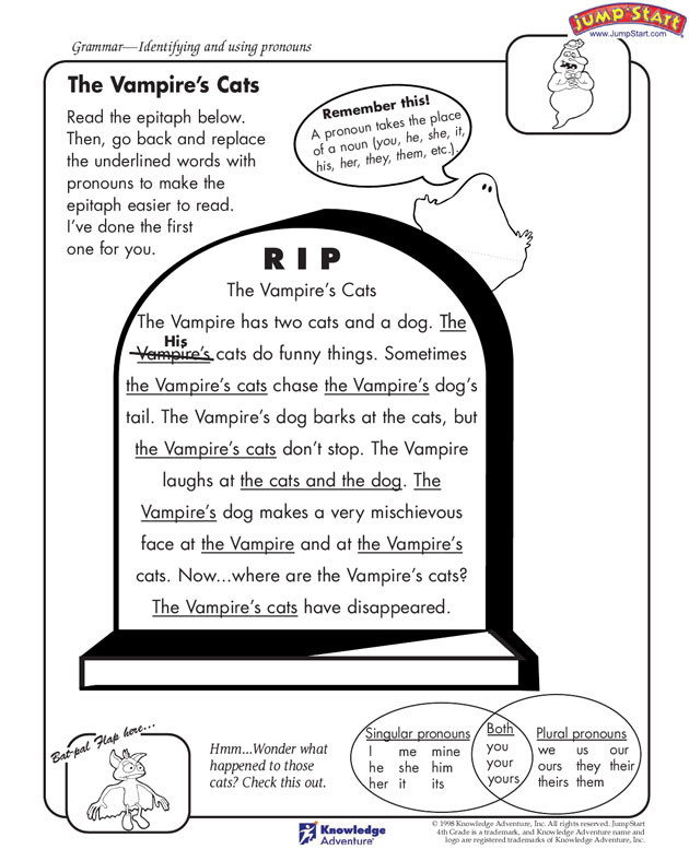 The Vampire's Cats - Fun English Worksheet for Kids
