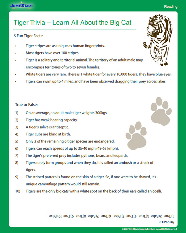 Tiger Trivia - Free Science Worksheet for 4th Grade