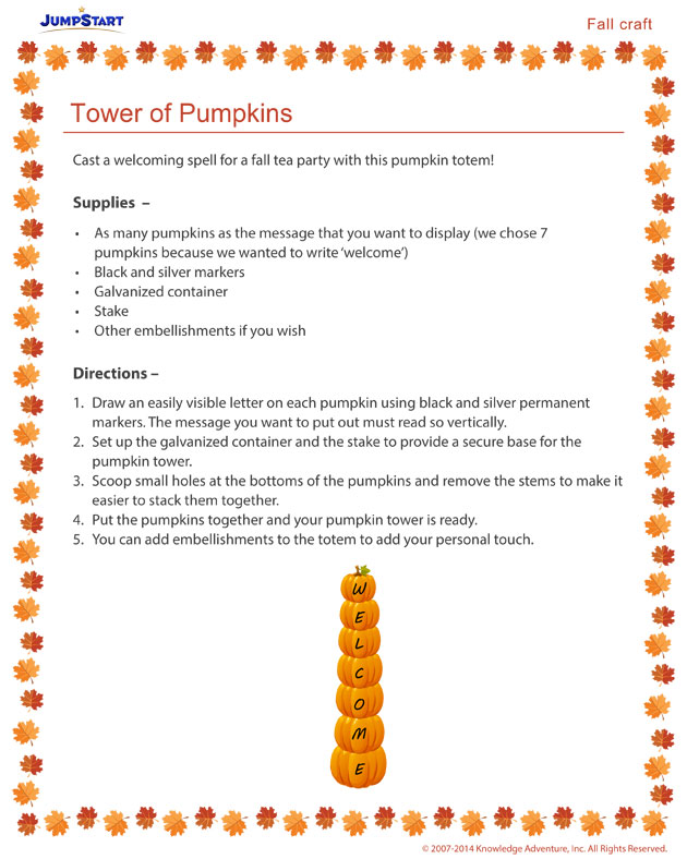 Tower of Pumpkins - Fall crafts and activities
