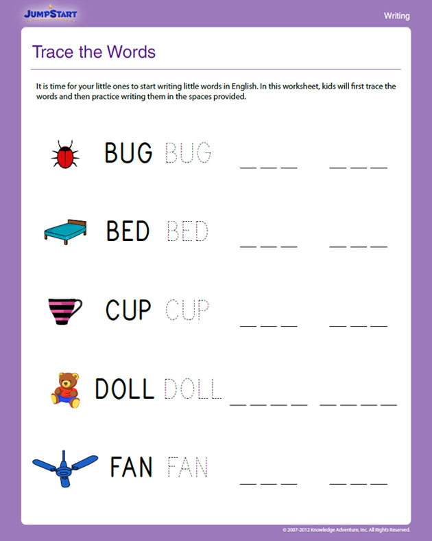 common worksheets 187 three letter words for preschool trace the words view free writing worksheet for kindergarten 978