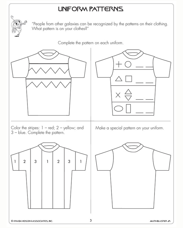 Uniform Patterns - Free Math Worksheet for 1st Grade