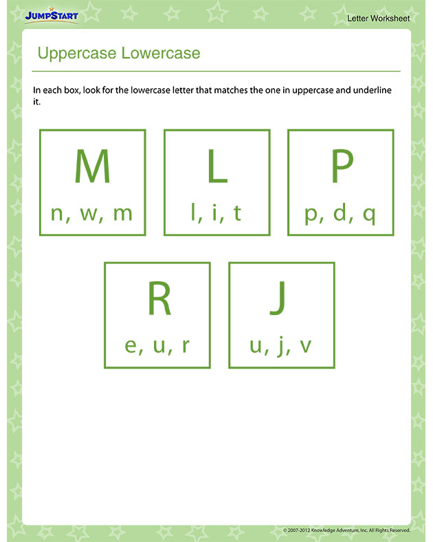 Uppercase Lowercase – Printable Letters Worksheet for Preschool