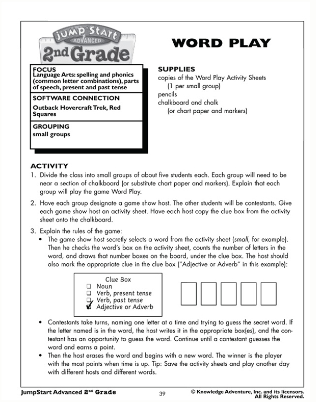 Word Play - Free 2nd Grade English Worksheet