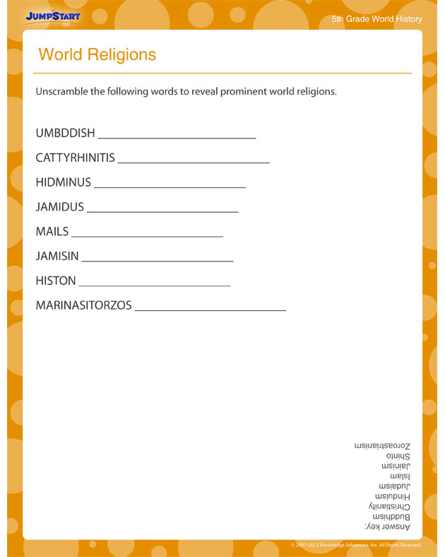 World Religions - World History worksheets for 5th Grade