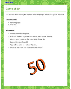 Game of 50 - Printable 2nd grade activity