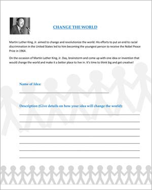 Number Names Worksheets martin luther king worksheets free : Change the World – Fun Martin Luther King Jr. Day Activities for ...