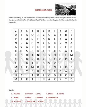 Number Names Worksheets martin luther king worksheets free : Find the Word – Martin Luther King Jr Day Word Search Puzzle ...
