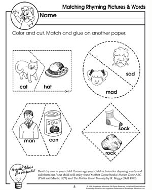 Matching Rhyming Pictures and Words - Free English Worksheet for Kids