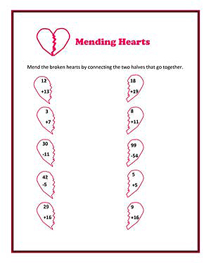 Number Names Worksheets valentines math worksheet : Mending Hearts – Printable Valentine's Day Math Worksheet - JumpStart