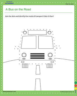 A Bus on the Road - dot to dot worksheets for kids
