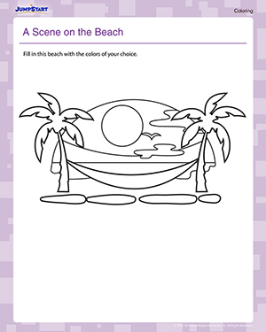A Scene on the Beach - Free Coloring Worksheet for Kids