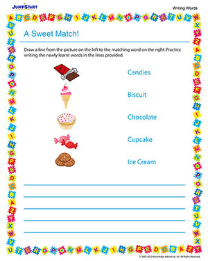 A Sweet Match - Printable English Worksheet for Kindergarten