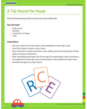 A Trip Around the House - Printable Activity to Improve your Child's Handwriting