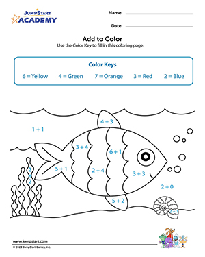 Add to Color - Free Kindergarten Math Activity