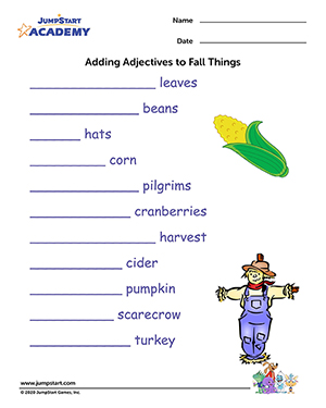 Adding Adjectives to Fall Things - Free Fall Resource for Kids