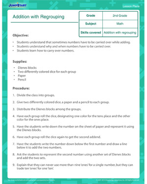 Addition with Regrouping - Free Math Lesson Plan