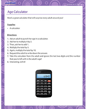 Age Calculator - Activity for 6-year olds