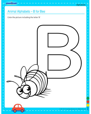 Animal Alphabets – B for Bee – Check out this Free Alphabet Worksheet for your Child