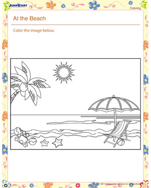 At the Beach – Kindergarten Coloring Worksheet