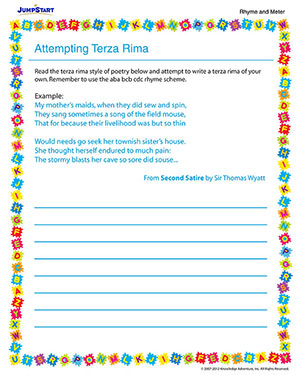 Attempting Terza Rima - Free English Worksheet for 5th Grade
