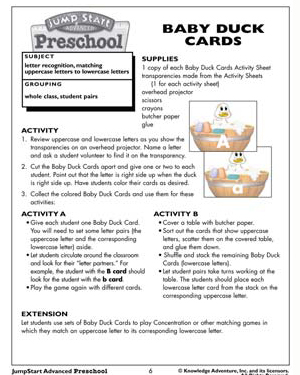 Baby Duck Cards - Free English Worksheet for Preschool