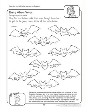 Batty About Verbs - Free English Worksheet for 2nd Grade