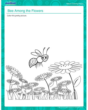 Bee Among the Flowers - Printable nature coloring pages by JumpStart
