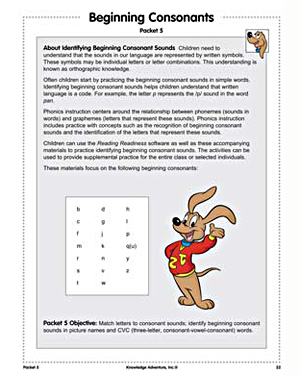 Beginning Consonants - Activities - Free Reading Worksheet for Kids