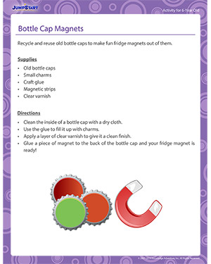 Bottle Cap Magnets - Activity for 6-year olds