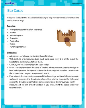 Box Castle - Measurement activity for kids