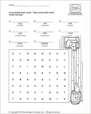 Bronco Buster and the Bank Robbers: Word Scramble - Free English Worksheet for Kids