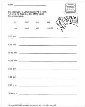 Bronco Buster and the Bank Robbers: Word Usage - Language Arts Worksheet