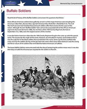 Buffalo Soldiers – Free Memorial Day Worksheet for 4th Grade