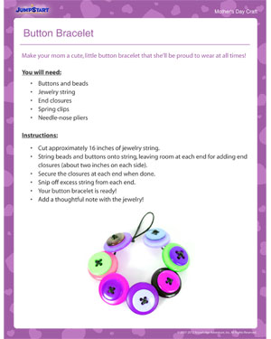 Button Bracelet – Mother's Day craft for Kids