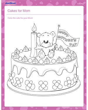 Cakes for Mom – Mother's Day Coloring Pages for Kids