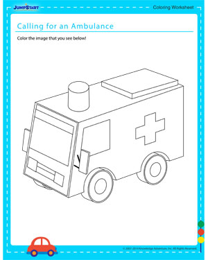 Calling for an Ambulance - Coloring worksheet for kids
