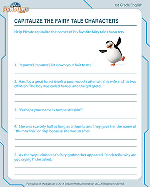 Capitalize the Fairy Tale Characters - English Worksheet