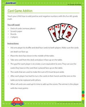Card Game Addition – Free Math Activity for 4th Graders