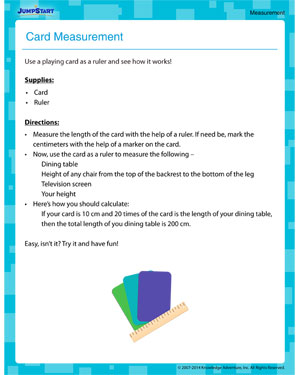 Card Measurement - Measurement activity for kids