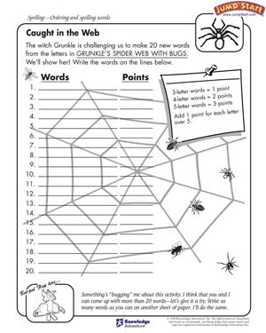 Caught in the Web - 4th Grade English Worksheets - JumpStart