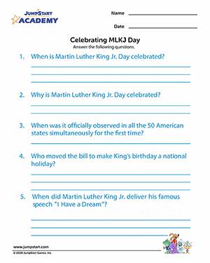 Celebrating MLKJ Day - Free Printable MLKJ Worksheet for Kids