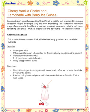 Cherry Vanilla Shake and Lemonade with Berry Ice Cubes – Summer activities
