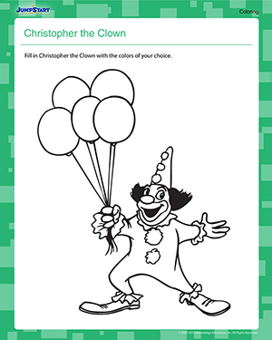 Christopher the Clown - Free Coloring Worksheet for Kids