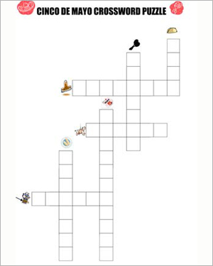 Cinco de Mayo Crossword Puzzle - Free Social Studies Worksheet for Kids