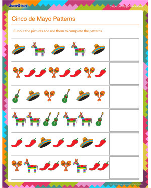 Cinco de Mayo Patterns - Free Math Worksheet for Kids