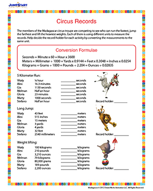 Number Names Worksheets free printable measurement worksheets : Circus Records – Printable Fifth Grade Measurement Worksheet ...